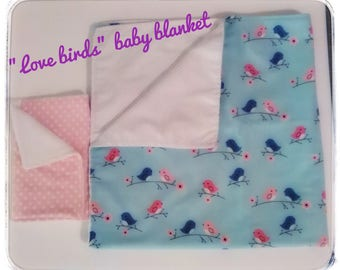 Love birds / Baby blanket/ baby receiving blanket/ swaddle blanket/ newborn swaddle wrap/ bird blanket/ baby gift/ shower gift/ newborn gift