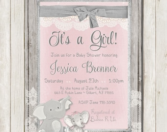 Elephant Baby Shower Invitation, Rustic Baby Shower Invitation, Lace Girl Invite, Wood, Elephant Invitation, Printable Invitation 5x7