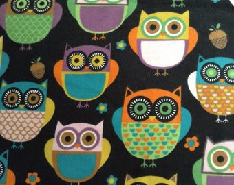 2 yards and 17 inches of Flannel/Colorful Owls on black background cotton fabric