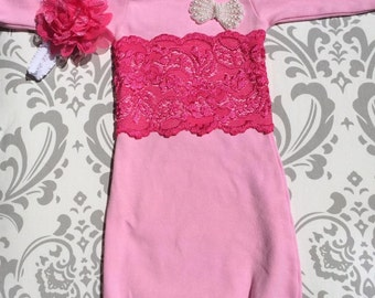 Lace Gown,Take Home Outfit, Newborn Gown, Baby Girl Layette, Newborn Pink Gown, Shabby Chic Newborn, Pink Newborn Outfit, Newborn Flowergirl
