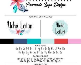 Tropical Hawaiian Logo & Watermark Premade Design - Custom Business Branding / Personal Name Text Graphics - Alternates Included