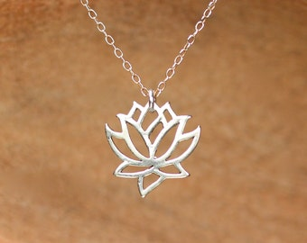 Silver lotus necklace - gold lotus flower - yoga necklace - blooming flower - a little lotus flower on a sterling silver chain