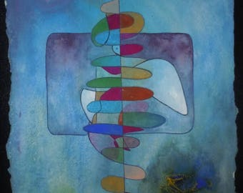 Dove. original art painting, blue, abstract, gouache