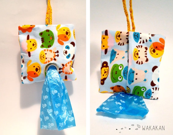 Dog Poop Bag Dispenser made in beautiful fabrics. Animals, polka dots, flower, vintage, retro, skulls.Doggie poop waste.Bag holder Wakakan