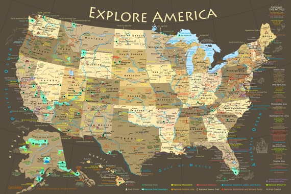 US Map & National Park Map Poster Illustrated USA Map