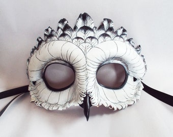 Snowy Owl Leather Mask