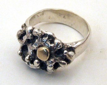Sterling Silver and 12 Karat Gold LUNAR RING - Cast Recycled Precious Metal Jewelry - Organic Abstract Unique Size 6.5