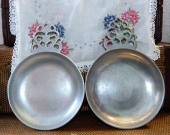 Vintage Pewter Porringers~Large~Catchall ~Trinket Dishes~Set of 2