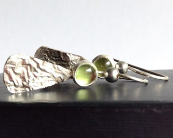 Peridot Earrings with Reticulated Silver