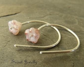 Sterling Silver Earrings, Botanical Earrings, Dangle Earrings, Bell Flower Earrings, Gifts Under 25, Milky Pink