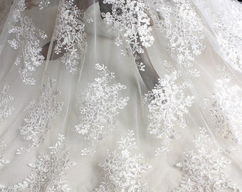 Great quality fabrics floral sequin embroidery white LL306 130cm