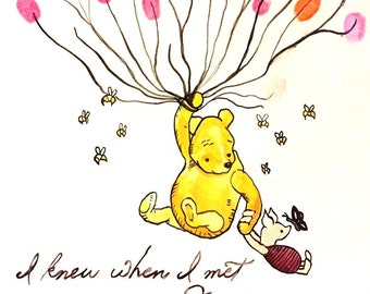 Winnie the Pooh Baby Shower Thumbprint Guestbook