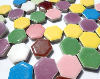 Hexagon Mosaic Tiles - 50 Ceramic Tiles 1 Inch Assorted Colors Tesserae Mosaic Supplies