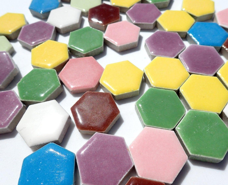 Hexagon Mosaic Tiles Ceramic Tiles Inch Assorted Colors - 1 inch hexagon ceramic tile