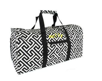 Custom Monogram Duffle Duffel Bag Overnight Travel Black White Greek Cheer Dance Twirl Embroidery Personalization Personalized