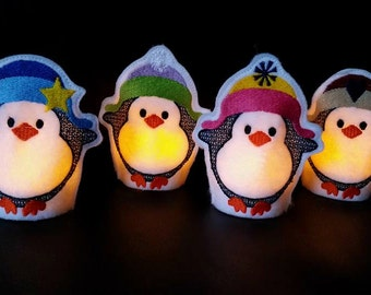 ITH Embroidery Design tealight cover PENGUIN