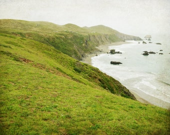 "Green landscape - fine art photography - Sonoma County - California beach -  seascape print - green gray wall art ""Green Land"""