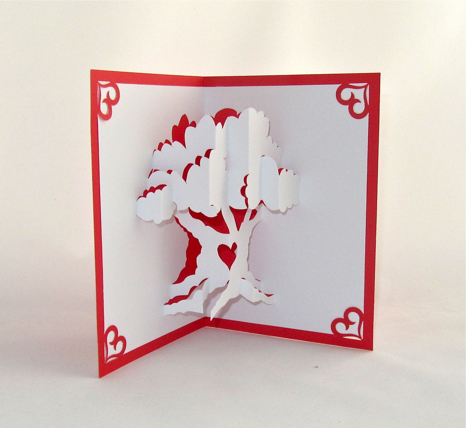 LOVE TREE VALENTINEs Day 3D Pop Up Card Handmade Handcut in