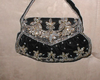 Vintage Gold and Pewter Beaded Black Velvet Purse