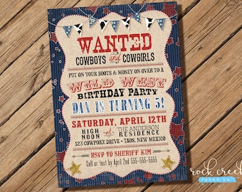 Cowboy Wild West Birthday Invitation, Outlaw Wanted, Cowboys & Cowgirls Party, Printable Invitation for Birthday Party