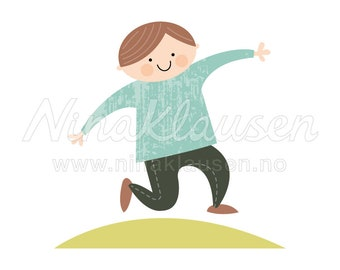 Happy Boy Clipart Illustration for Small Commercial Use - 0012