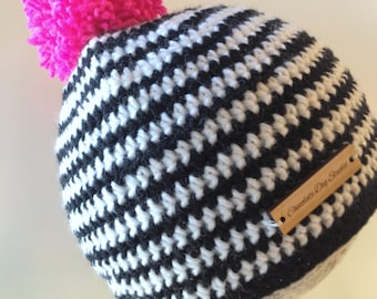 winter hat, beanie, crochet hat black white stripe