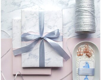 """Wedding Gift Wrapping Paper, Gift Wrap, Wrapping Sheets, Reversible - 19"""" x 27"""" per Roll – Marble and Pink"""