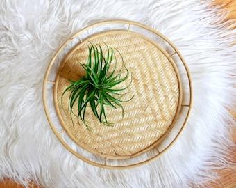 Vintage Boho Bamboo and Wicker Woven Tray / Vintage Bamboo Tray / Vintage Rattan Tray / Boho Decor / Rattan Tray / Vintage Round Tray