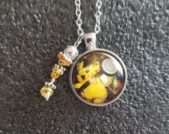 Handmade PIkachu in poke ball Necklace with charm