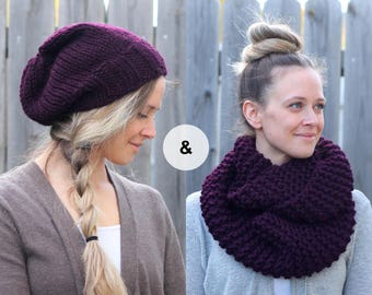Knitted Slouchy Hat and Scarf Set in Eggplant Purple- Wool Slouchy Hat and Infinity Scarf