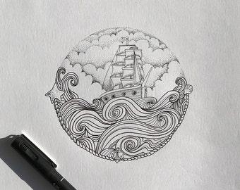 Ship 2 - illustration with ink drawing