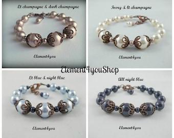 Wedding bracelet, Fall wedding jewelry, Swarovski pearls, Antique copper jewelry, Champagne bronze, Set of 4 bridesmaid bracelets, Thank you