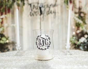 Unity Candle Holder Set - Monogram & Wreath - Unity Candle Ceremony - Wedding Candle - Unity Candle Set - Unity Ceremony - Candle Holders