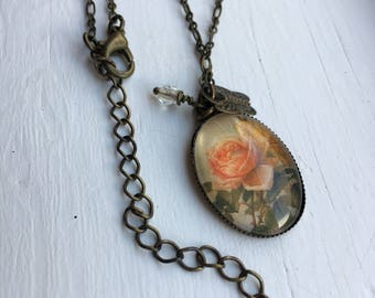 Antique Brass Necklace with Rose Resin Pendant