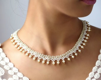 Pearl bridal necklace for wedding, Swarovski pearl statement necklace, hand beaded jewelry for women