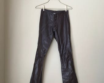 Vintage 1970s Brown Leather Pants Bootcut Mambo Trousers