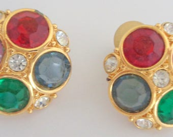 Vintage Swarovski Clip On Earrings w/Bezeled Crystals in Red, Blue, Green & Purple w/2 Clear Crystals on Gold Plate. Missing Pad