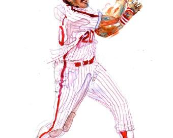 Watercolor portrait of Philadelphia Phillies Baseball player Mike Schmidt - giclee from original
