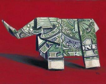 Origami Elephant painting