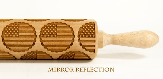 USA Flag U.S. Embossing rolling pin, Engraved Rolling Pin, Embossed Rolling Pin, Wooden Rolling pin
