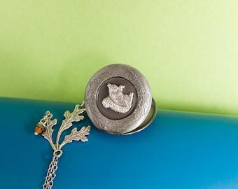 Squirrel Locket Antique Silver Locket Necklace Photo Locket Secret Locket Woodland Locket Gift for Her Nature Locket Woodland Animal Locket,