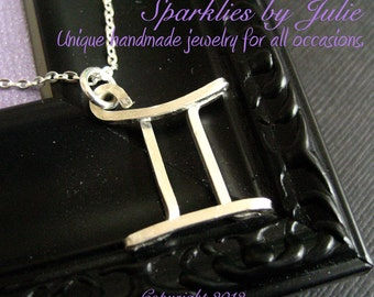 Gemini Necklace  - Zodiac necklace, hand formed, sterling silver Astrological Symbol pendant