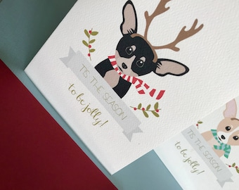 Antlers, Chihuahua Christmas greeting cards set of 6, pet portrait, gift card, notecard, holiday gifts, dogs