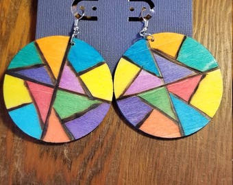 Colorful ethnic wood earrings