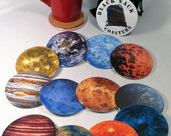 4 Planet Drink Coasters, Cork Backed Coaster, Cocktail Coaster Set, Planet Lover Gift, Astronomy Party Favor, Space Gift, Labor Day Sale