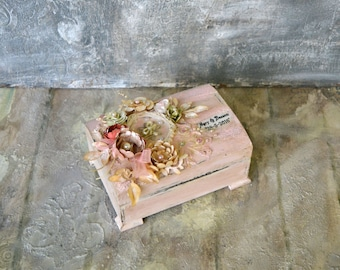 Personalized Wedding Ring Box, Ring Bearer Box, Wedding Ring Box, Rustic Wedding Ring Box, Blush pink Wedding Ring Box,Vintage Wedding Box