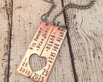 Couples set jewelry name date his forever hers for always gift for couple long distance love anniversary valentines day hand stamped