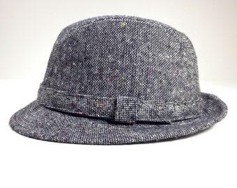 Vintage Black and White Tweed Fedora Wool Tweed Hat Men's Winter Hat Harvard Custom Tailored  High Fashion  Size Large Hipster Style