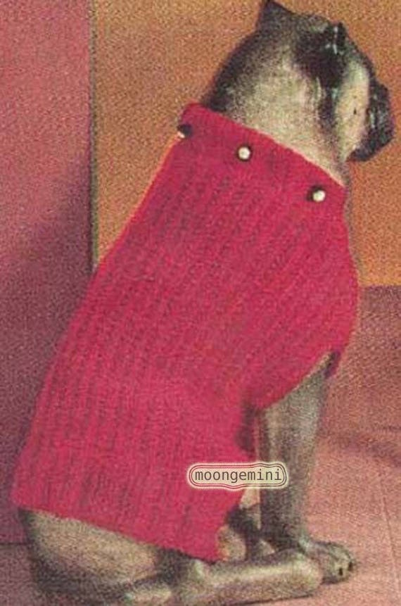 Knitted Dog Sweater Coat Blanket Pattern Pug Poodle Terrier Vintage ...