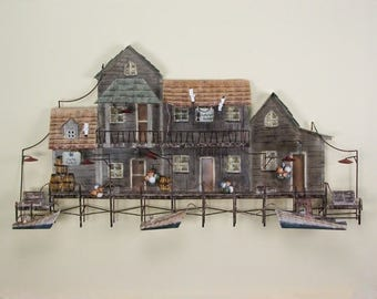 New England Sea Village Metal Wall Art CA263